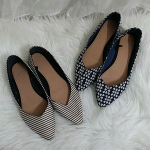 2 for 1 GAP Canvas Print Pointed Toe Flats Sz6